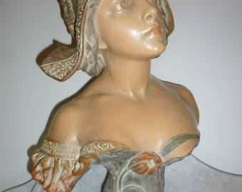 Art Nouveau Polychrome Terracotta Sculpture Bust of a lady by R. AURELI – c.1900