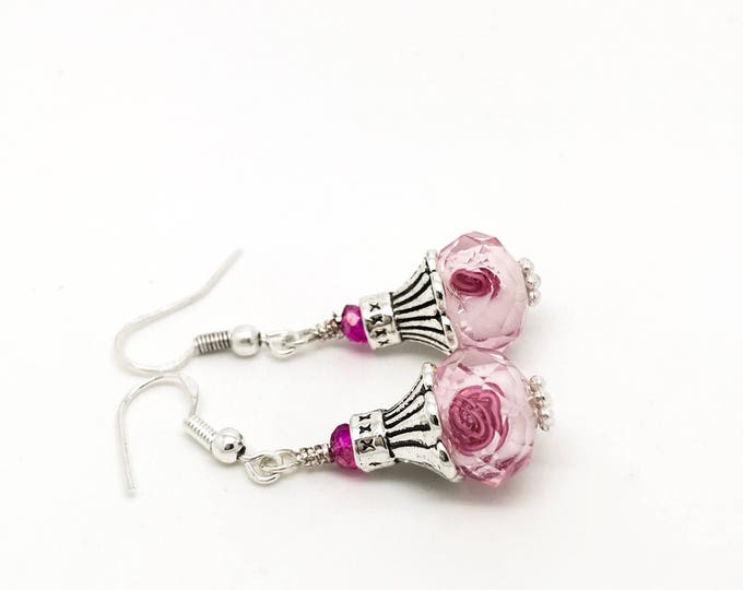 Pink Flower Earrings - Drop Dangle Earrings - Beaded Earrings - Rose Floral Earrings - Floral Earrings - Dangle earrings - Floral Jewel