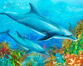 Underwater Seaworld W Dolphins Canvas Giclee, Acrylic Art W Gallery Wrap Ready To Hang 86X60X3.8 cm