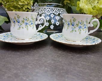 Vintage//Royal China seltmann Weiden//set of 2//kop and dishes//forget me Staples//Hightea//tea cup//flea market//English style
