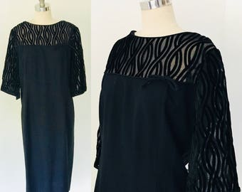 Vintage 60's California Edith Martin Original Black Velvet Burnout Cocktail Dress l XL