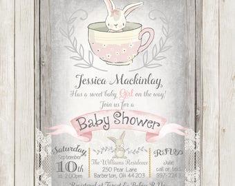 Tea cup invitation   Etsy