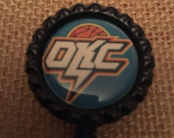 Oklahoma City Thunder NBA  Inspired Bottlecap Retractable ID Badge Holder Name Tag Reel