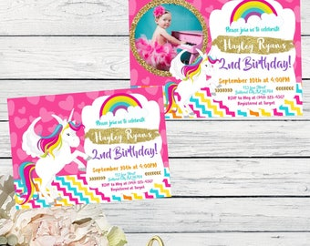 Unicorn Rainbow Personalized birthday invitation- With or Without Photo***Digital File*** (Unicorn-01 Pic)