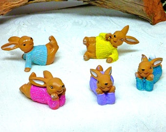 Bunny Rabbits with Sweaters Garden Accessory Inside or Outside Fairy Accessory Bunny Assortment