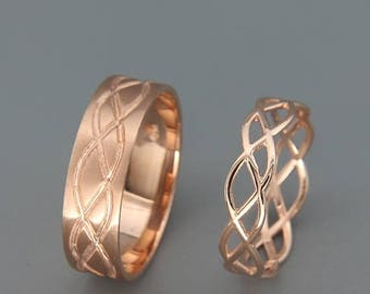 SALE Christmas in July 14K Rose Gold Celtic Wedding Rings Set   Handmade 14k rose gold Celtic wedding Rings   His and Hers Wedding Bands Set