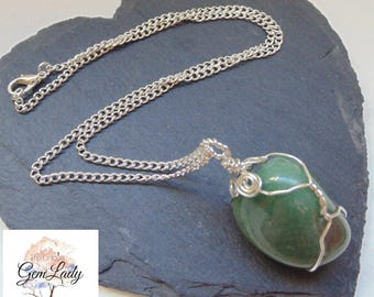 Green Aventurine Tumblestone Wire Wrapped Silver Necklace ~ Gemstone Crystal Healing ~ Hand Crafted Ooak