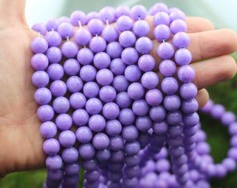 Jade Beads, Purple Beads, Purple Jade Beads, 10mm, Natural Mashan Jade, Full Strand, Round Beads, Gemstone Beads,