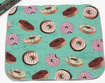 Lunchbox Napkins(8), Kid Friendly 100% Cotton Flannel, Assorted Doughnuts Pattern with Stylish Rolled Hem, Reusable... Ready to Ship