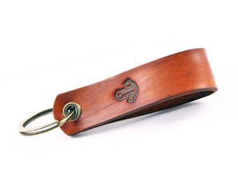 Custom Leather Key Chain Gift for Him Her Personalized Leather Keychain Leather Key Ring Anchor Custom Color Hand Stamped