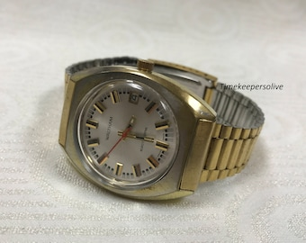 Vintage Original Waltham Swiss Made Stainless Electric Electrodyne Wrist Watch
