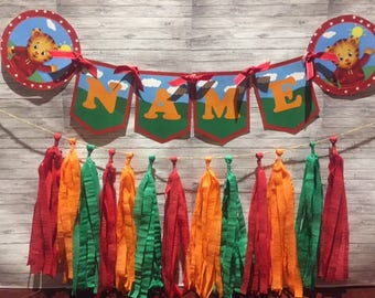 Daniel Tiger Birthday Party Wall Tassel Garland, Personalized Custom Name Banner Bunting, Handmade Decorations