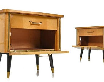 Small Mid Century Modern Nightstands - FREE SHIPPING
