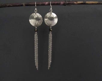 Silver Chain Dangle Earrings Up Cycled art Nouveau Artisan Metalsmith OOAK