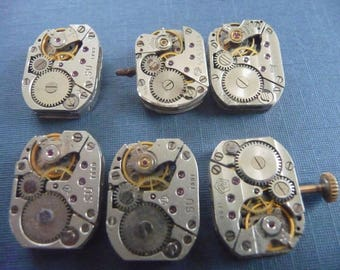 Set of 6 antique watch movement Steampunk crafting  Lot 103