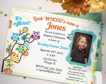 Owl Adoption Announcement, Printable Adoption Invitation, Adoption Invites for Boy, Digital Adoption Invitation for Girl, Adoption Invites