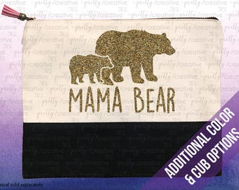 Mama Bear Two Tone Makeup/Travel Cosmetic Bag with Black Canvas Trim -  Black, Silver or Gold Glitter