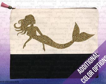 Mermaid Two Tone Makeup/Travel Cosmetic Bag with Black Canvas Trim - Silver, Gold or Black Glitter