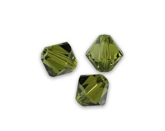 10 swarovski bicones 6mm olivine Swarovski Crystal bead
