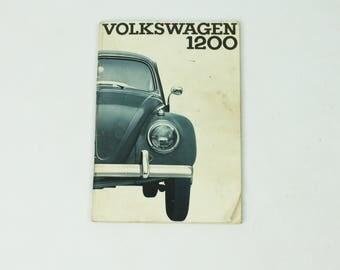 Vintage 60s Volkswagen 1200 Manual 1963 Sedan Convertible Bug Beattle