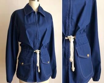 70s nautical jacket M/L ~ vintage sailor spring jacket