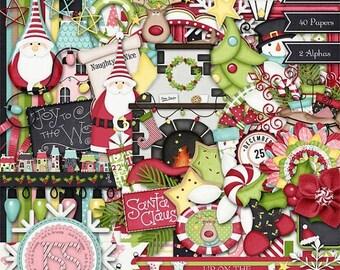 On Sale 50% Christmas,Holiday,Santa,Up On The Housetop Digi Scrap Kit, Digital Scrapbooking, Scrapbook