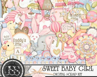 On Sale 50% Sweet Baby Girl Digital Scrapbook Kit for Digital Scrapbooking and Paper Crafting