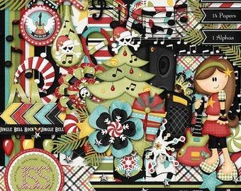 On Sale 50% Off Christmas Jingle Bell Rock Digital Scrapbooking Kit, Holiday,12x12,Sesasonal