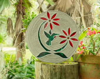"Colorful Hummingbird Stepping Stone 18"" Diameter Concrete Decorated with Stained Glass Inlay Perfect for Your Garden, Patio & Back Yard #770"