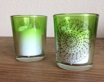 Green Ombre Votive Candle Holders with Hand Drawn Mandala