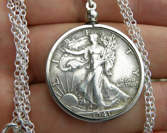 1941 authentic vintage silver walking liberty half dollar coin necklace pendant sterling silver chain 16 or 18 or 20 or 22 or 24 or 30 inch