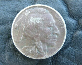1918 US circulated  authentic vintage Buffalo Indian Nickel coin full date  A142