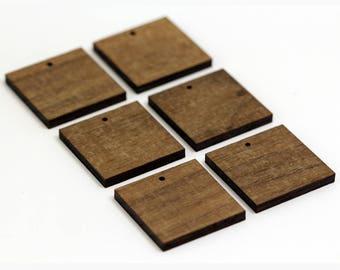 6 Square Blank Beads : Walnut Plywood