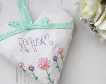 Embroidered Heart // Mothers Day Gift
