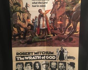 Original 1972 The Wrath Of God One Sheet Movie Poster, Robert Mitchum, Priest, Catholic, Church, Religion
