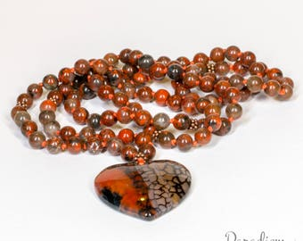 Protect & Energize - Poppy Jasper and Fire Agate Heart Pendant 108 Bead Hand Knotted Meditation Yoga Mala Necklace