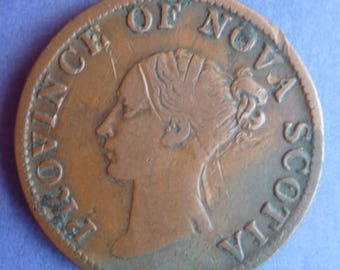 Province Of Nova Scotia Queen Victoria Halfpenny Token Dated 1840.