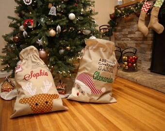 Personalized Burlap Santa Sacks. Beautiful Burlap Material. Christmas Gift Sacks. Reindeer and Santa Appliqué. After Christmas Sale