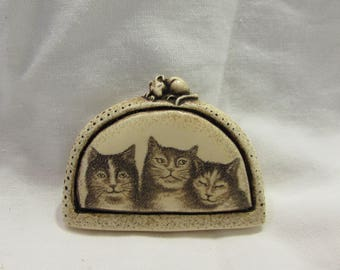 "Vintage Pin/Brooch, ""Three Cats"", Hand Crafted, R.H. Bodeau - 1996"