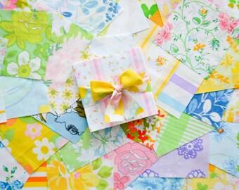 Vintage Sheet. 40 Piece Charm Pack. Colorful Brights. 5 x 5 Fabric Squares. Quilt Bundle. Floral Fabric. 5 Inch. Set 02