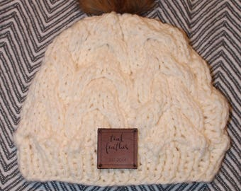 Cream knit hat