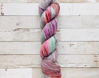color play - OOAK | akame sock | hand dyed yarn | mint grey pink black speckles | 75/25 SW Merino/Nylon