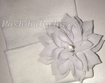 Solid White or Pink Hospital Hat w/ White Flower and Rhinestone in it! Hospital Beanie.  Newborn Hat. Choose Hat Color at Checkout