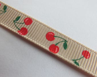 Pretty beige Ribbon with cherry red and green pattern