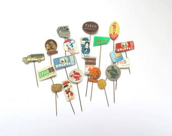 Vintage pins advertising chocolate: pack of 20 European badges. Collectible or for use in crafts, altered art, collage, mixed media. OT576