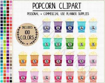 SALE 100 POPCORN clipart movie theater clipart popcorn stickers cinema clipart movie stickers popcorn bucket bright stickers Erin Condren
