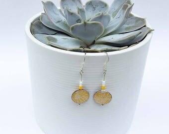 Yellow drop earrings, yellow dangle earrings, gift for me, contemporary jewellery, paper jewellery, sterling silver earrings, resin earrings