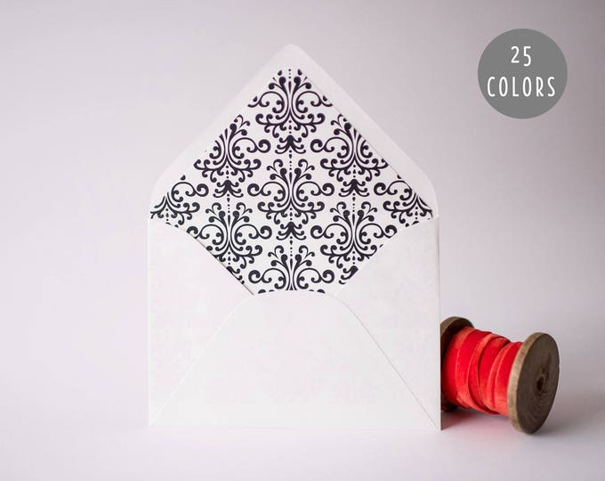 damask lined envelopes (20 color options) - sets of 10  // modern envelope liners wedding shower party invitation invite