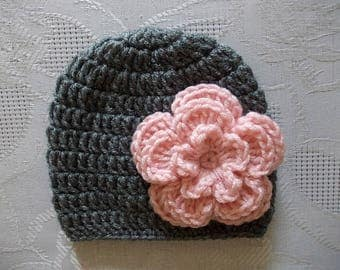 Crochet baby hat Baby girl hat Newborn girl hat Baby girl beanie Charcoal baby hat Newborn girl outfit Newborn beanie Baby hat with flower