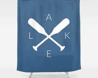 45 colors Lake Shower Curtain, Lake Bathroom Decor, Blue Lake House Shower Curtain, Blue Lake House Bathroom Decor